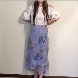 Vintage Pastel Floral Print Ruffle Flowy Skirt k